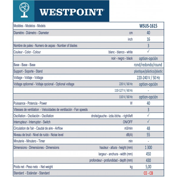 WSUS-1615 1 16' STAND FAN FULL PLASTIC 110V/60HZ ROUND BASE WESTPOINT