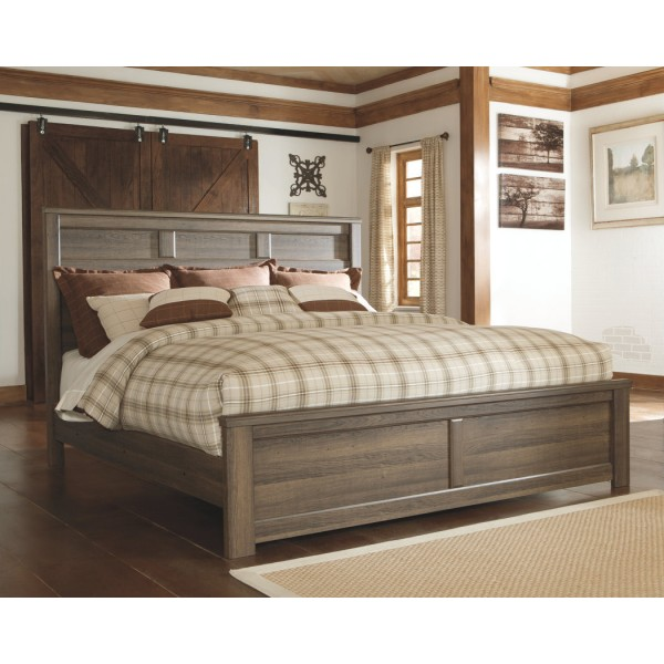 B251k Juararo Dark Brown King Size Bedroom Set King Bed 2 Nightstands Dresser Miror By Ashley Furniture
