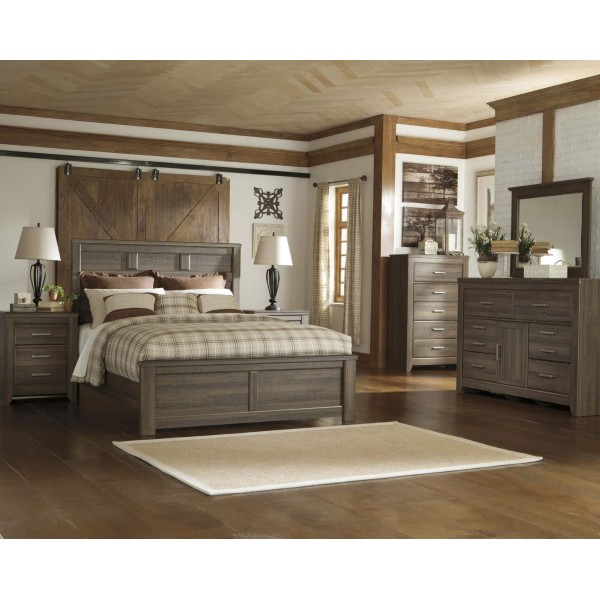 B251q Juararo Dark Brown Queen Size Bedroom Set Queen Bed 2 Nightstands Dresser Miror By Ashley Furniture