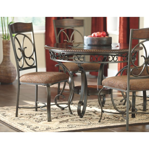 D329 Glamberry Dark Cherry Dining Room Set Round Dining Table 4 Dining Chairs By Ashley Furniture